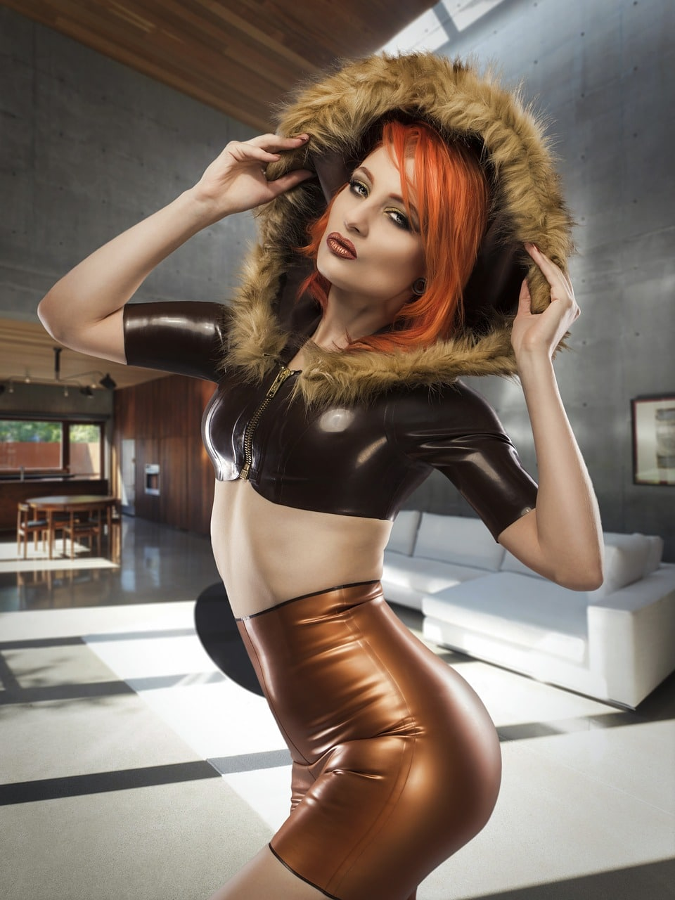 woman in latex with hood
